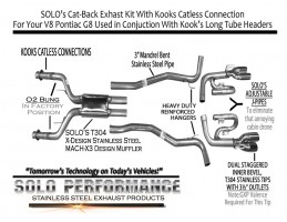 "V8 Pontiac G8, 3"" Solo Kit's With Catless Connections – To Kook's"